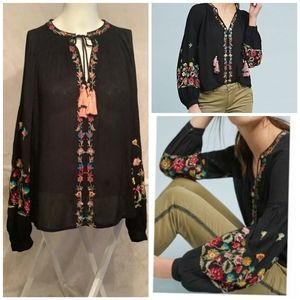 MAEVE LANIE PEASANT black TOP EMBROIDERED FLOWERS